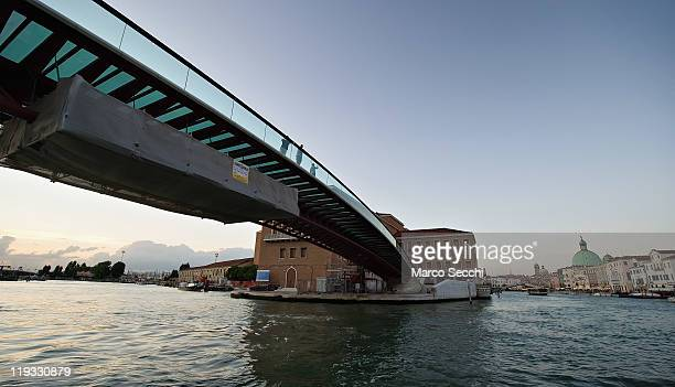 A general view of The Constitution Bridge generally called the Calatrava Bridge on July 18 2011 in Venice Italy The 'Constitution Bridge' designed by...