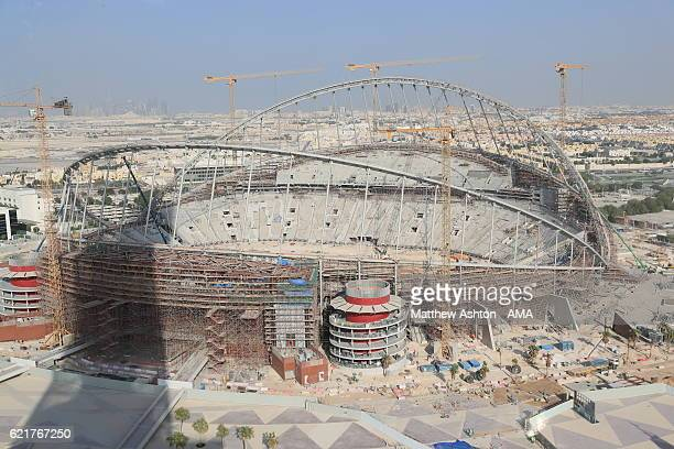 A general view of the construction and refurbishment of the interior of the Khalifa International Stadium also known as National Stadium in Doha...