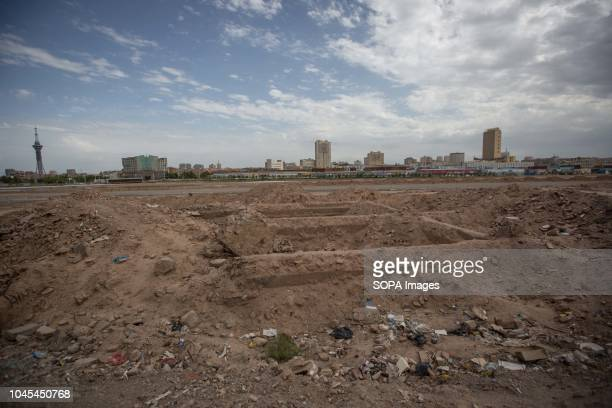 A general view of the construction field after traditional Uyghur houses were removed to build newly home Kashgar is located in the north western...