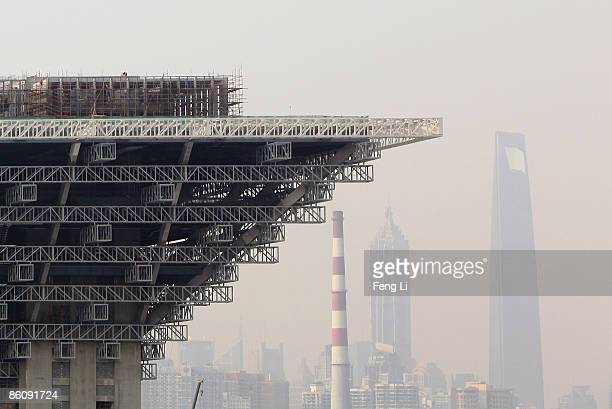A general view of the construction of the China Pavilion at the World Expo site on April 21 2009 in Shanghai China Expo 2010 is a scheduled World...