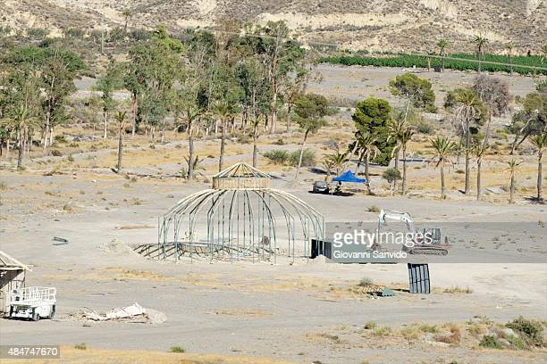 A general view of the construction of the film set for the next season of 'Games of Thrones' at El Chorrillo Sierra de Alhamilla on August 21 2015 in...