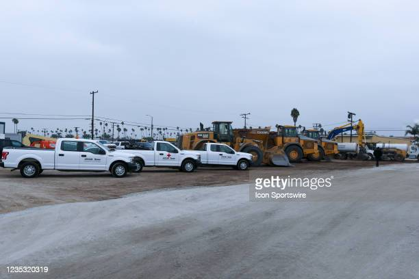 General view of the construction site during the Los Angeles Clippers Ground breaking Ceremony on September 17 at the Intuit Dome site in Inglewood,...