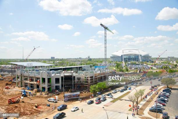 A general view of the construction site for the new Texas Rangers stadium across the street from Globe Life Park on Thursday March 29 2018 in...