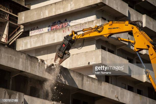 General view of the construction site for the removal of the Green Vela on February 20 2020 in Naples Italy The Vele of Scampia are a public housing...