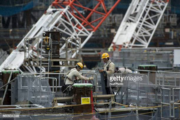 General view of the construction site of New National Stadium the main stadium of Tokyo 2020 Olympics and Paralympics in Tokyo Tokyo Oct 13 2017