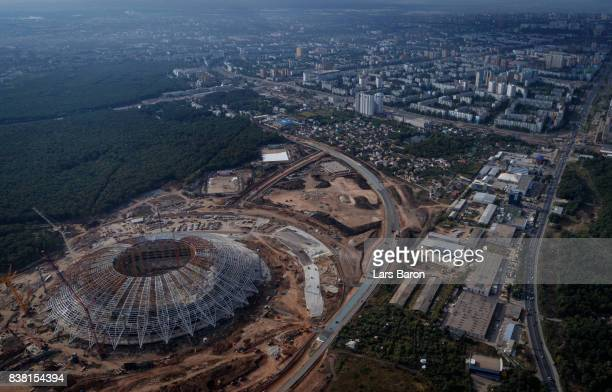 A general view of the construction site of Samara Arena on August 24 2017 in Samara Russia