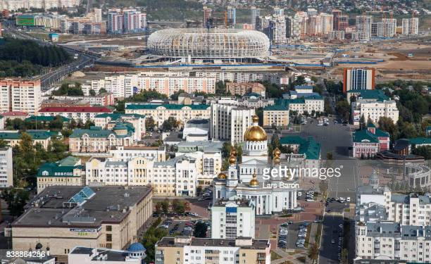 General view of the construction site of the Mordovia Arena next to the cathedral of Saint Righteous Warrior Feodor Ushakov on August 25 2017 in...