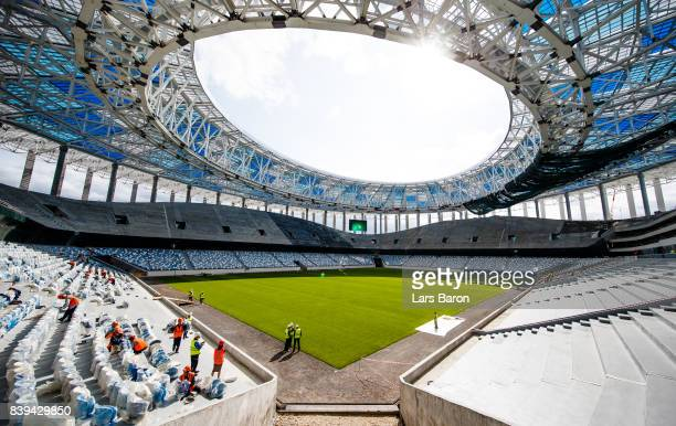 A general view of the construction site of the Nizhny Novgorod stadium on August 26 2017 in Nizhny Novgorod Russia