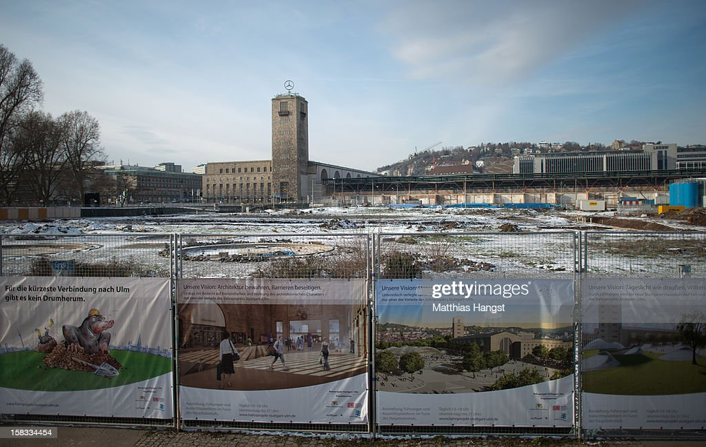 A general view of the construction site of the Stuttgart 21 railway station on December 13, 2012 in Stuttgart, Germany. German state rail carrier Deutsche Bahn, which is carrying out the massive project, announced yesterday that final costs will be EUR 1.1 billion more than previously expected, bringing the total cost to EUR 5.6 billion. The project will replace the current overground, terminal station with a more efficient underground one. Critics have decried the project as too expensive and too environmentally risky.