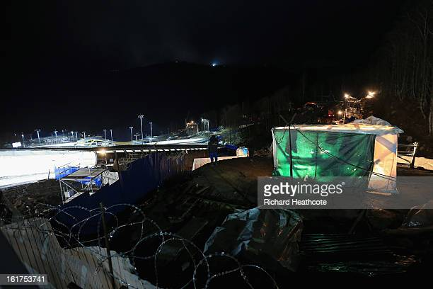 A general view of the construction that contiunes next to the track during the Women's Viessman FIBT Bob Skeleton World Cup at the Sanki Sliding...