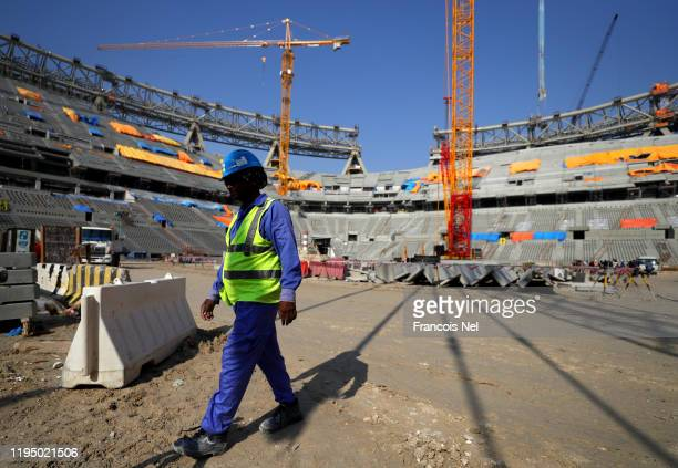 General view of the construction work at Lusail Stadium on December 20, 2019 in Doha, Qatar.