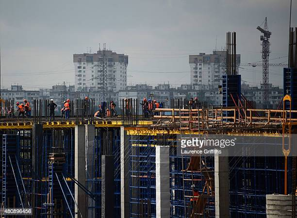 General view of the construction work at Stadium Samara during a media tour of Russia 2018 FIFA World Cup venues on on July 16, 2015 in Samara,...