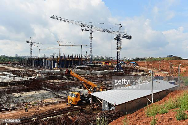 General view of the construction work at Stadium Samara site during a media tour of Russia 2018 FIFA World Cup venues on on July 16, 2015 in Samara,...