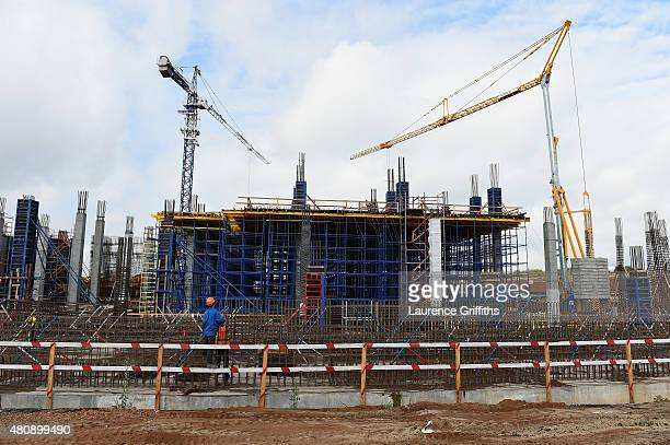 A general view of the construction work at Stadium Samara site during a media tour of Russia 2018 FIFA World Cup venues on on July 16 2015 in Samara...