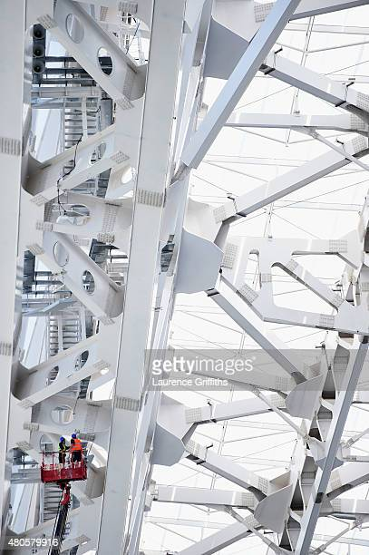 A general view of the construction work during a media tour of Russia 2018 FIFA World Cup venues at Fisht Stadium on July 13 2015 in Sochi Russia