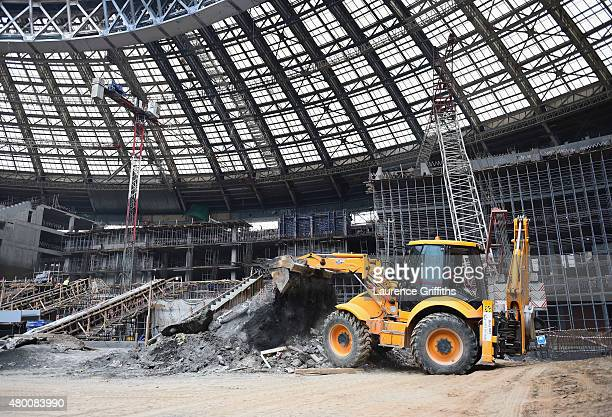 General view of the construction work in the Luzhniki Stadium during a media tour of Russia 2018 FIFA World Cup venues at Luzhniki Stadium on July 9...