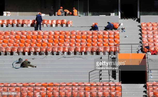 General view of the construction work of Ekaterinburg Arena during a media tour of Russia 2018 FIFA World Cup venues on August 19 2017 in...