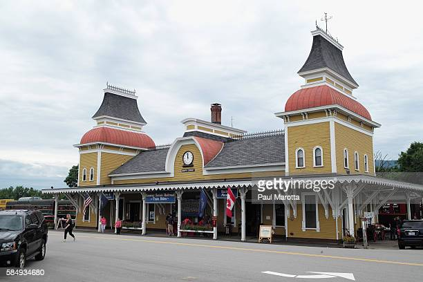 A general view of the Conway Scenic Railroad on August 1 2016 in North Conway New Hampshire Founded in 1872 the ornate station was built in 1874 by...