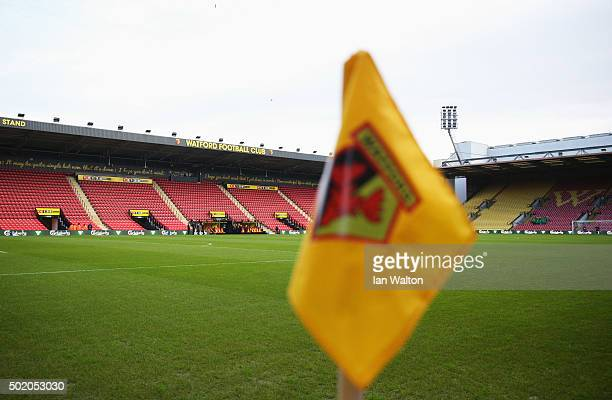 A general view of the corner flag and stadium prior to the Barclays Premier League match between Watford and Liverpool at Vicarage Road on December...