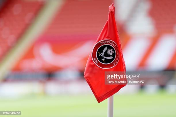 General view of the corner flag at Bramall Lane before the Premier League match between Sheffield United and Everton at Bramall Lane on July 20 2020...
