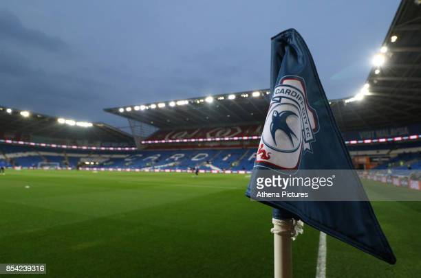 A general view of the corner flag at Cardiff City Stadium prior to kick off of the Sky Bet Championship match between Cardiff City and Leeds United...