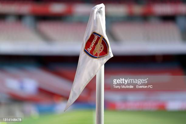General view of the corner flag at Emirates Stadium before the Premier League match between Arsenal v Everton at Emirates Stadium on April 23, 2021...