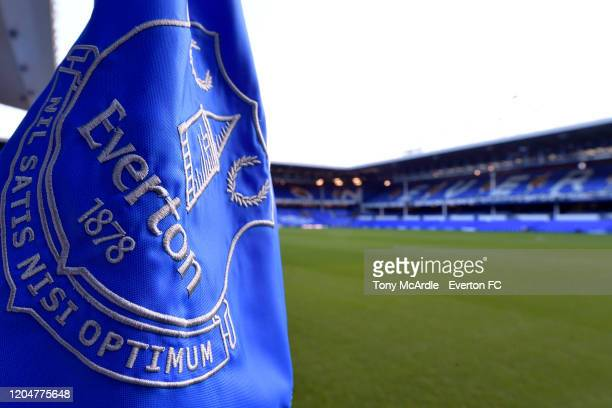 A general view of the corner flag at Goodison Park before the Premier League match between Everton and Crystal Palace at Goodison Park on February 8...