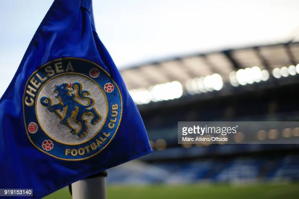 A general view of the corner flag at Stamford Bridge featuring the club crest during the FA Cup 5th Round match between Chelsea and Hull City at...