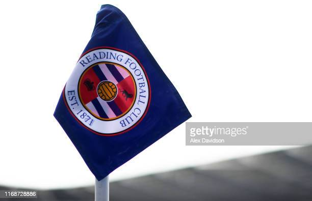 General view of the corner flag during the Sky Bet Championship match between Reading and Cardiff City at Madejski Stadium on August 18, 2019 in...