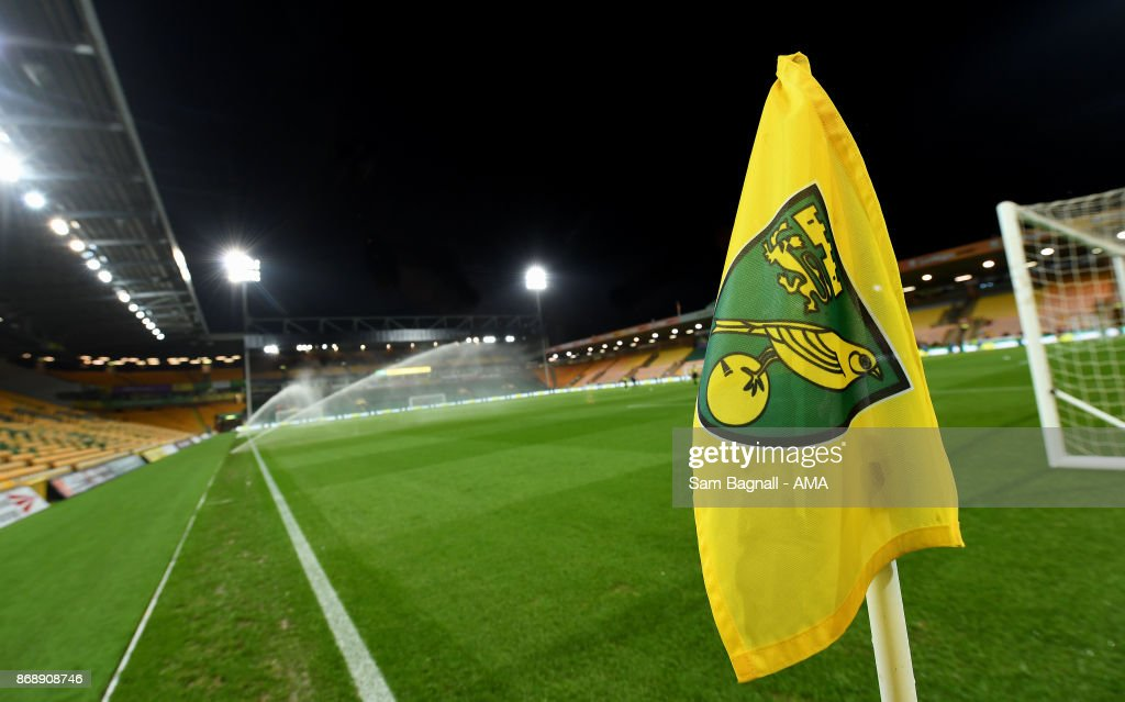 General view of the corner flag inside the stadium before the Sky Bet Championship match between Norwich City and Wolverhampton at Carrow Road on October 31, 2017 in Norwich, England.