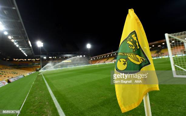 General view of the corner flag inside the stadium before the Sky Bet Championship match between Norwich City and Wolverhampton at Carrow Road on...