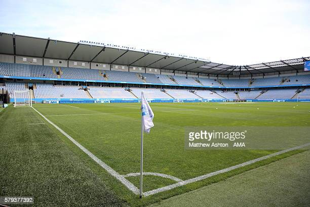 General view of the corner flag inside The Swedbank Stadion, the home stadium of Malmo FF during the Allsvenskan match between Malmo FF and Kalmar FF...