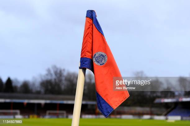 General view of the corner flag prior to the Premier League 2 match between Chelsea U23 and Manchester City U23 at EBB Stadium on March 08 2019 in...