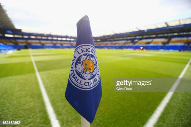 A general view of the corner flag prior to the UEFA Champions League Quarter Final second leg match between Leicester City and Club Atletico de...