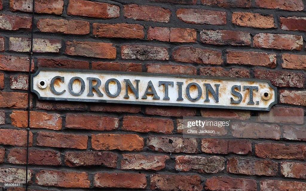 A general view of the Coronation Street sign during a visit by Camilla, Duchess of Cornwall on February 4, 2010 in Manchester, England.