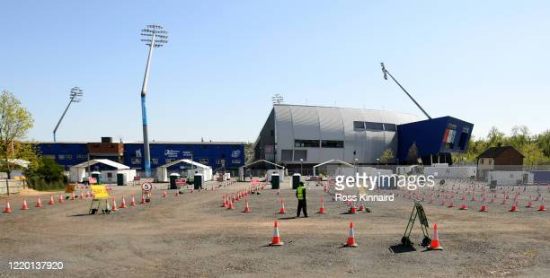 General view of the Coronavirus Covid-19 testing area at Edgbaston Cricket Ground on April 21, 2020 in Birmingham, England. The British government...