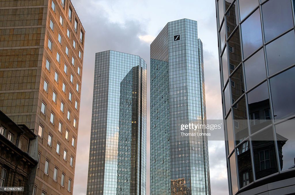 A general view of the corporate headquarters of Deutsche Bank on October 5, 2016 in Frankfurt, Germany. Banks across Europe are struggling as their profits have fallen amid an ongoing period of low interest rates, and many, including Commerzbank and Deutsche Bank of Germany, ING and ABN Amro of Holland, and Banco Popular of Spain, are responding by slashing thousands of jobs in an effort to cut costs.