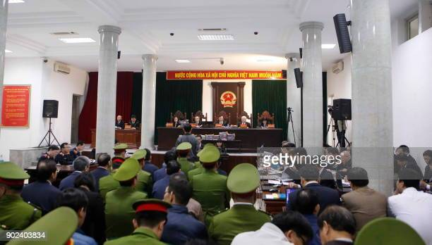 General view of the corruption trial of Vietnam's National Oil Company VPN 's former executives at Hanoi People's Courthouse on January 8, 2018. The...