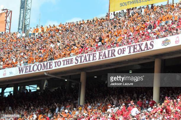 General view of the Cotton Bowl crowd during the Red River Shootout between the Oklahoma Sooners and the Texas Longhorns on October 12, 2013 at The...