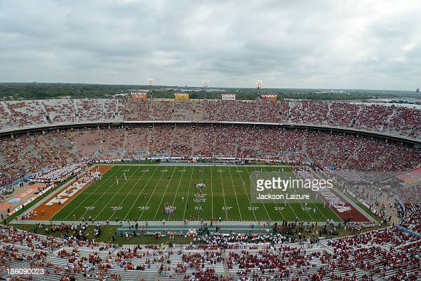 General view of the Cotton Bowl during the Red River Shootout between the Oklahoma Sooners and the Texas Longhorns on October 12, 2013 at The Cotton...