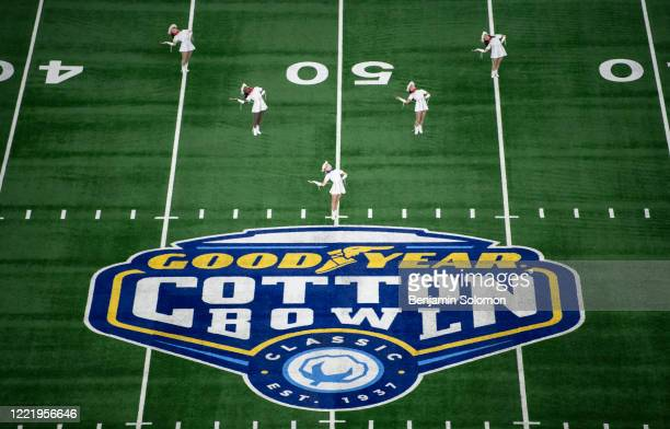 A general view of the Cotton Bowl logo ahead of the Goodyear Cotton Bowl Classic at ATT Stadium on December 28 2019 in Arlington Texas