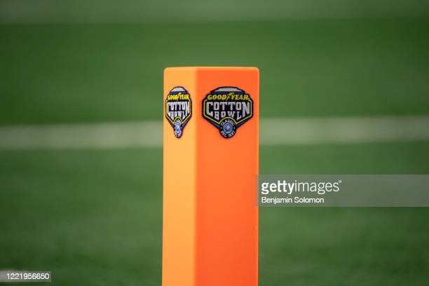 A general view of the Cotton Bowl logo on a pylon in the end zone during the Goodyear Cotton Bowl Classic at ATT Stadium on December 28 2019 in...