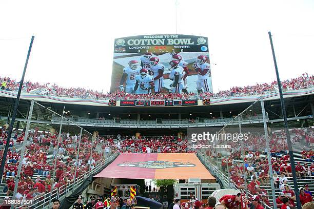 A general view of the Cotton Bowl scoreboard and crowd during the Red River Shootout between the Oklahoma Sooners and the Texas Longhorns on October...