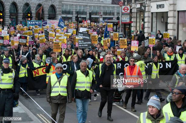 A general view of the counter protest against the 'Brexit Betrayal March' Thousands of people took to the streets in central London to march against...