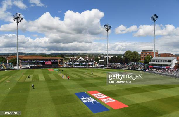General view of the County ground during the Group Stage match of the ICC Cricket World Cup 2019 between Afghanistan and New Zealand at The County...