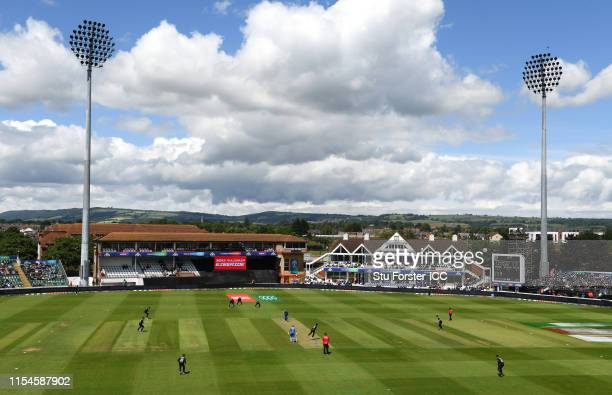 A general view of the County ground during the Group Stage match of the ICC Cricket World Cup 2019 between Afghanistan and New Zealand at The County...