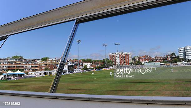 General view of the County Ground reflected in the press box window during the LV County Championship Division One match between Sussex and...