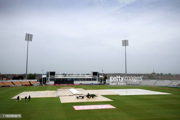 A general view of The County Ground with the covers in place prior to the 1st Vitality Women's IT20 between England and West Indies at The County...