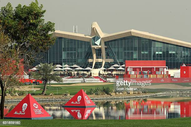 A general view of the course and clubhouse during a practice round prior to the start of the Abu Dhabi HSBC Championship at Abu Dhabi Golf Club on...