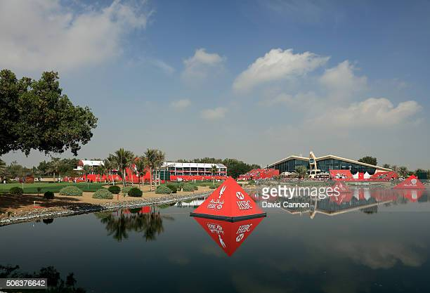 A general view of the course and clubhouse from beside the first green during the completion of the fog delayed second round of the 2016 Abu Dhabi...